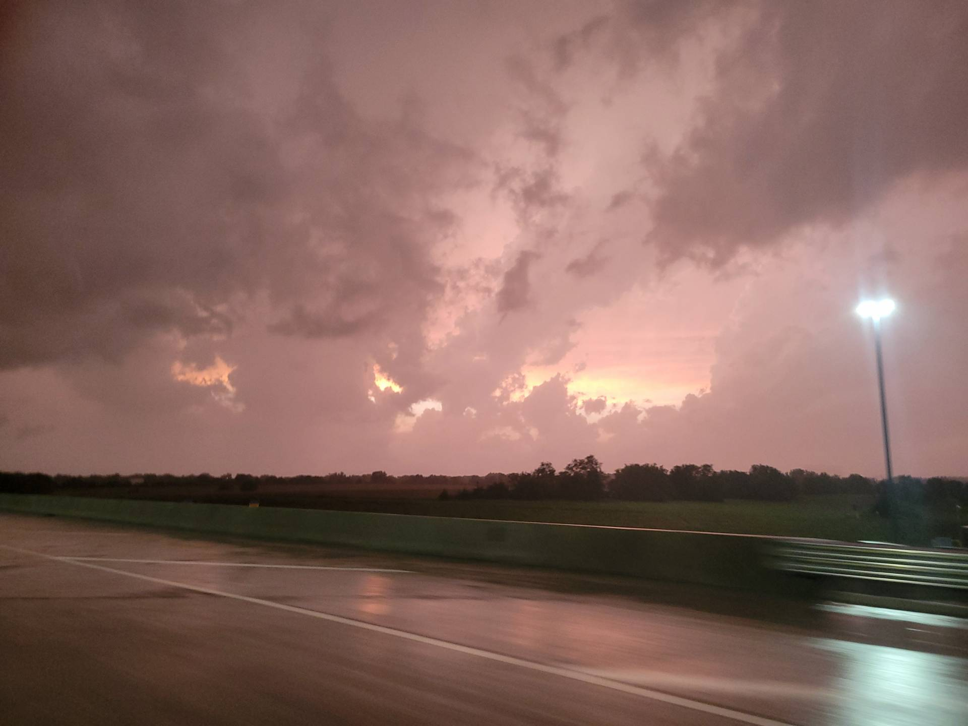 Sunset and storms over Wichita.
