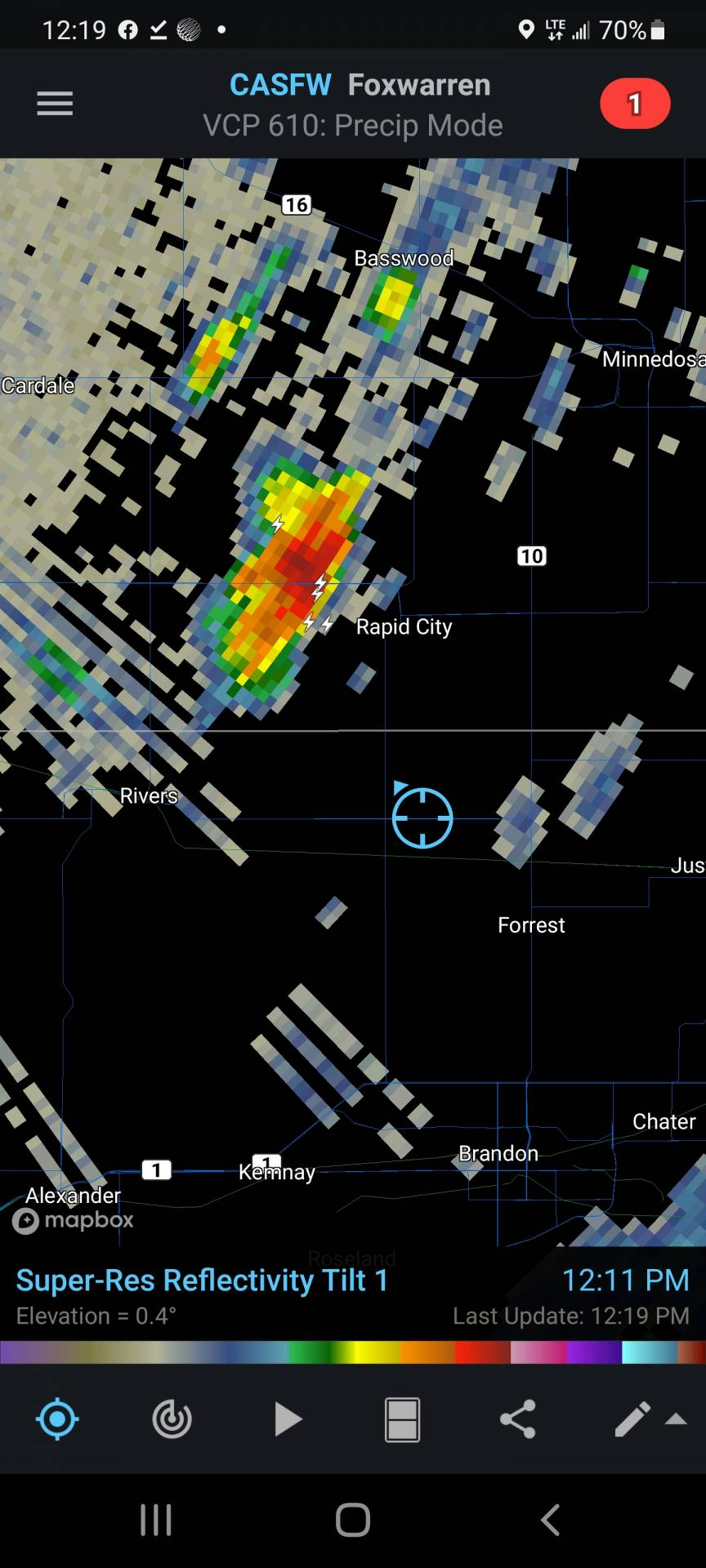 We've got a thunderstorm NW of rapid city building quick