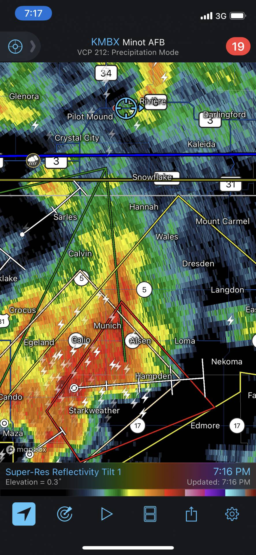 Our storm just went tornado warned. Let's hope it makes the border!